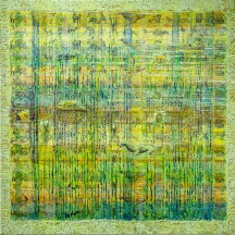 COMMUNITY WATERSCAPE mixed media panel 3'x3'