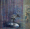 WAYNE'S CARIBOU mixed media panel 3'x3' SOLD
