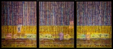 "WILD TAPESTRY TRIPTYCH mixed media triptych 24""x 54"""
